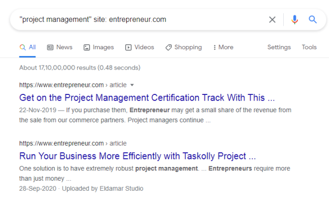 """Image of google search for """"project management"""" utilizing """"site:"""" operator."""